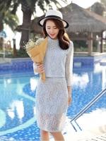 แฟชั่นเกาหลี set 2 ชิ้น เสื้อและกระโปรงผ้าลูกไม้สุดสวย