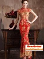 Pre-Order ชุดราตรียาว ชุดกี่เพ้า ชุดไปงานแต่งงาน สีแดงเลื่อมทอง แขนสั้น ผ้าเนื้อดีเกรด A อย่างดี เหมาะใส่เป็นชุดออกงาน ชุดไปงานแต่งงานมากๆ