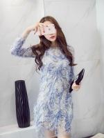 ชุดเดรสผ้าลูกไม้ ขนฟูมุ้งมิ้ง โทนสีเทาและเดินเส้นด้วยด้ายสีน้ำเงินตามแบบ