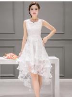ชุดเดรสออกงาน ผ้าไหมแก้ว organza สีขาว ทอลายเส้นดอกไม้สีขาวเล็กๆ