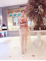 ชุดเดรสยาว แขนกุด ตัวชุดเป็นผ้ามุ้งสีครีม ปักลายดอกไม้โทนสีแดง