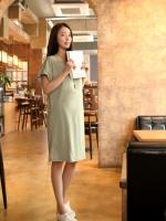 KDR019 (เกาหลี) เดรสคลุมท้อง แขนระบาย เนื้อผ้านิ่มมาก ใส่ได้ถึงคลอด สบายสุดๆ