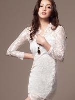 ชุดเดรสสั้น DRESS ชุดเดรสสั้นคอวี ผ้าลูกไม้ เข้ารูป โทนสีขาว ใส่ออกงาน แบรนด์ R.J STORY สวย น่ารักมากๆ