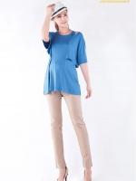 CN083(จีน)เสื้อคลุมท้องให้นมแหวกใต้แขนเสื้อ ผ้ายืดเนื้อดี นิ่ม ลื่น ยืดได้เยอะ ทรงสวย เป็นเสื้อกล้ามซ้อนอยู่ด้านใน ท้องไม่ท้องใส่ได้คุณภาพเกินราคา สีฟ้า