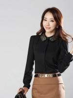 เสื้อทำงาน เสื้อทำงานเกาหลี ผ้าชีฟอง กระดุมหน้า ปักลายที่ปกเสื้อ ดูดี สีดำ สวยมากๆ (พร้อมส่ง)