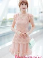 พร้อมส่ง ชุดเดรสสั้น Brand Ai Fei ชุดเดรส ตัวชุดผ้าถักโครเชต์สีชมพูโอรส ซับในด้วยผ้าไหม กระโปรงผ้าโปร่ง ชายกระโปรง แต่งลายดอกไม้
