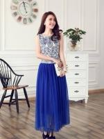 ชุดเดรสยาว Brand เกาหลี ชุดเดรสยาวแขนกุด ตัวเสื้อผ้าไหมสีขาว ปักด้วยด้ายสีน้ำเงิน กระโปรงผ้ามุ้งสีน้ำเงิน สวยมากๆครับ (พร้อมส่ง)
