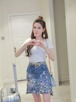 แฟชั่นเกาหลี set เสื้อ และกระโปรงยีนส์ น่ารักมากๆ ครับ