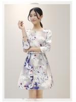 ชุดเดรสเกาหลี ผ้าคอตตอนผสม spandex เนื้อนุ่ม ยืดหยุ่นได้ดี สีเทาพาสเทล