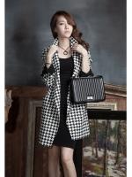 เสื้อโค้ทเกาหลี ตัวยาว ลายสก๊อตขาวดำ แขนยาว มีกระดุมช่วงเอว มีกระเป๋าเสื้อ คุณภาพดีคุ้มเกินราคา