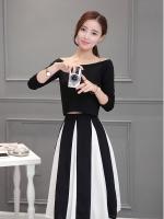 แฟชั่นเกาหลี set เสื้อ และกระโปรงสวยเก๋ครับ