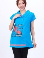 CN091(จีน)เสื้อคลุมท้องให้นมกระดุมผ่าหน้าดีไซน์เอียงซ้าย สกรีนลาย แต่งกระดุมหลัง สีฟ้าเข้ม