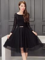 เดรสสีดำ ชุดสีดำ เดรสตัวเสื้อผ้าลูกไม้เนื้อดีสีดำ แขนยาว