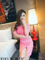 ชุดเดรสเซ็กซี่ ผ้าคอตตอนผสม สีชมพู แขนยาวสามส่วน