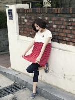 CN072 (จีน)เสื้อคลุมท้องให้นม ผ้ายืดเนื้อละเอียด นุ่ม ไม่ระคายผิว ด้านบนสีขาว ด้านล่างลายขวางแดงสลับขาว