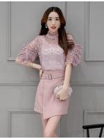 แฟชั่นเกาหลี set เสื้อ และกระโปรงสวยหวาน สีชมพูกะปิ