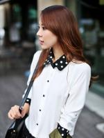 เสื้อทำงาน เสื้อเกาหลี เสื้อแขนยาว ปกและปลายแขนสีดำจุดสีขาว กระดุมหน้า ผ้าชีฟอง สีขาว สวยมากๆ (พร้อมส่ง)