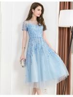 ชุดเดรสยาว ผ้าโปร่งสีฟ้า ปักด้วยด้ายสีฟ้า ลายใบไม้ทั้งชุด สวยมากๆ เลยครับ
