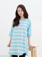 TE00132 (เกาหลี)เสื้อคลุมท้อง ตัวใหญ่ ลายขวาง สีสันสดใส