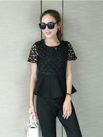 แฟชั่นเกาหลี set เสื้อ และกางเกงสีดำ ใส่ทำงานสวยเก๋ครับ