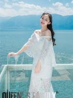 ชุดเดรสยาว หางปลา คอป้าน ตัวเดรสเป็นผ้าลูกไม้ญี่ปุ่น คุณภาพดี สีขาว