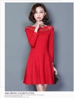 ชุดเดรสสีแดง ผ้าคอตตอนผสม เนื้อดี แขนยาวห้าส่วน