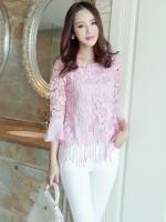 เสื้อผ้าถักลายดอกไม้ สีชมพู แฟชั่นเกาหลี แขนยาวสี่ส่วน