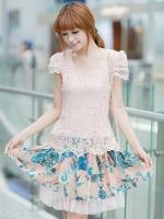 ++ ชุดเดรสสั้น Brand Ai Fei ++ ชุดเดรสแฟชั่น ตัวเสื้อผ้าถักลายผีเสื้อ สีชมพูโอรส ใส่เที่ยว หรือใส่ออกงานก็สวยได้..