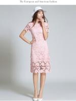 ชุดเดรสสวยๆ ผ้าถักโครเชต์ลายดอกไม้ สีชมพูโอรส