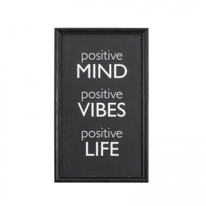 "Wood Framed ""Positive Mind, Positive Vibes, Positive Life"" Wall Décor"