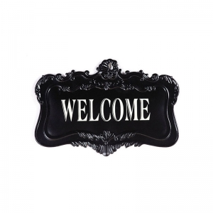 "Black Metal ""WELCOME"" Wall Plaque"