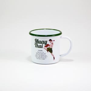 """Iconic Thai Enamel Mug """"Muay Thai"""""""