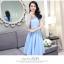 ชุดเดรสชีฟอง ผ้าเนื้อดีสีฟ้า คอเสื้อสวยมาก เป็นผ้าถักเย็บสลับกับผ้าโปร่ง thumbnail 7