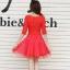 ชุดเดรสแฟชั่น สีแดง ผ้าลูกไม้อย่างดี หน้าอกเสื้อแต่งด้วยผ้าลายดอกไม้ ประดับด้วยมุก สีแดง thumbnail 4