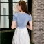 ชุดเดรสสั้น ตัวเสื้อผ้ายีนส์ สีซีด แต่งด้วยคริสตรัลใสที่เสื้อทั้งตัว thumbnail 7