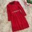 ชุดเดรสสีแดง ผ้าลูกไม้เนื้อนิ่มมากๆ แขนยาว ที่คอเสื้อ แต่งด้วยผ้าแยกออกมา thumbnail 7