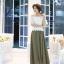 แฟชั่นเกาหลี Set 2 ชิ้น เสื้อ + กระโปรง เสื้อ:ผ้าถักลายดอกไม้สีขาว มีซับใน กระโปรงยาว: ผ้าคอตตอนผสม สีเขียวขี้ม้า thumbnail 4