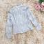 เสื้อผ้าลูกไม้เนื้อดีสีเทา แขนยาว คอปก คอเสื้อด้านหน้า แต่งด้วยผ้าโปร่ง thumbnail 12