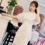 ชุดเดรสสีขาว ตัวชุดมีดีเทลเยอะสวยมากๆ ด้านนอกสุดของชุดเป็นผ้าลูกไม้ปักลายดอกไม้ thumbnail 2