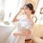 ชุดเดรสสวยๆ ผ้าไหมแก้ว สีขาว ปักลายดอกไม้สีขาว thumbnail 3