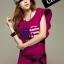 เสื้อยืดแฟชั่น แขนปีกนก ลาย Heart Flag สีชมพูบานเย็น thumbnail 1