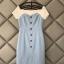 ชุดเดรสเกาหลี ผ้าโพลีเอสเตอร์ผสม สีฟ้า ไหล่และคอเสื้อเป็นผ้าชีฟองเนื้อหนาสีขาว ไหล่ป้าน thumbnail 14