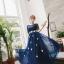 ชุดราตรียาว ออกงาน ตัวเสื้อผ้าลูกไม้สีน้ำเงิน แขนยาวสามส่วน ด้านนอกของเสื้อผ้าลูกไม้ thumbnail 4