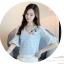 เสื้อผ้าลูกไม้ เนื้อดีเนื้อนิ่มสีฟ้า (เนื้อผ้ามีสีชมพูอ่อนๆ ผสม ดูจากภาพซูมด้านล่างเลยครับ) คอวี thumbnail 5