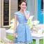 ชุดเดรส ชุดเดรสเจ้าหญิง แสนหวาน ตัวชุดผ้าลูกไม้สีฟ้า คอเสื้อเสื้อหยัก แต่งผ้าถ่วงคลุมไหล่และแขน สวยมากๆ thumbnail 3