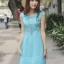 ชุดเดรสเกาหลี Brand Hong fen jia ren เดรสสุดหรูสีฟ้า ตัวเสื้อผ้าลายดอกไม้ ซับในผ้าไหม แขนเสื้อและกระโปรง ผ้าไหมแก้ว ใส่ออกงานสวยมากๆครับ (พร้อมส่ง) thumbnail 3