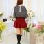 แฟชั่นเกาหลี เสื้อผ้าคอตตอน ทอลายตารางเล็กๆ สีดำขาว แขนยาว หน้าอกเสื้อแต่งด้วยผ้าถักวงกลมสีขาว thumbnail 10