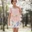 เสื้อผ้าแฟชั่นเกาหลี Set 2 ชิ้น เสื้อผ้าชีฟองสีชมพู แขนระบายปักมุก พร้อมเข็มขัด สวยมากๆ thumbnail 1