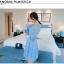 ชุดเดรสผ้าไหมแก้ว organza ปักด้วยด้ายลายดอกไม้ สีฟ้า สวยมากๆ thumbnail 3
