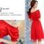 ชุดเดรสสั้น แฟชั่นเกาหลี ผ้าซาติน สีแดง thumbnail 7